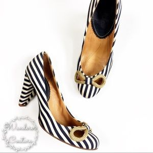 Anthro Maloles Jaunty Bow Striped Heels
